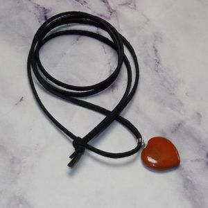 Other - Stone Heart Necklace Natural Faux Suede 28 Inch